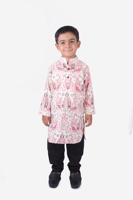 Pink and GreyTemple Printed Khadi Cotton Kurta with Black Churidar