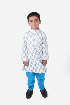 Turquoise Blue and White Motif Print Cotton Kurta with Turquoise Blue Churidar