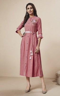 Onion-pink printed rayon ethnic-kurtis