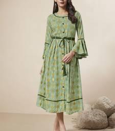 Light-green printed rayon ethnic-kurtis
