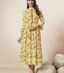 Light-yellow printed rayon ethnic-kurtis