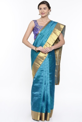 CLASSICATE From The House Of The Chennai Silks Blue Dharmavaram Silk With Running Blouse