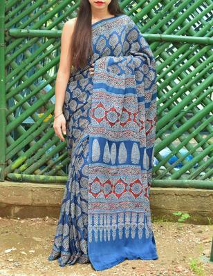 Indigo printed silk saree with blouse