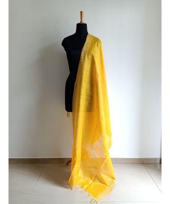 Turmeric yellow mulberry silk dupatta