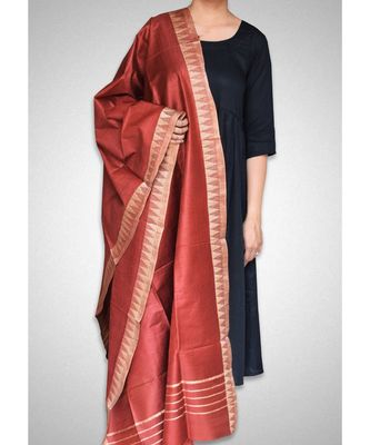 Red mulberry silk dupatta
