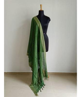 Olive green mulberry silk dupatta