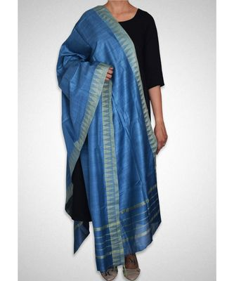 Marine blue mulberry silk  dupatta