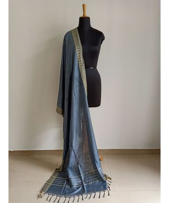 Light grey mulberry silk dupatta