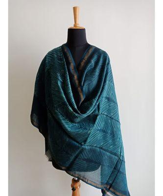 Nature print space blue chanderi silk shibori work dupatta