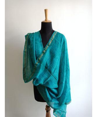 turquiose wave print chanderi silk shibori work dupatta