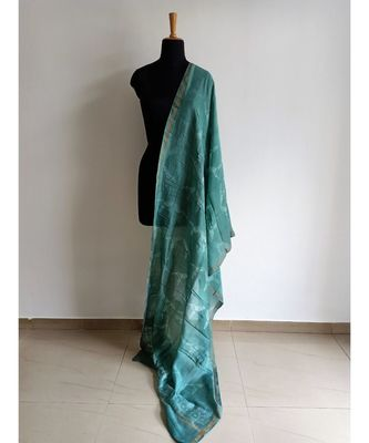Light teal bird print chanderi silk shibori work dupatta