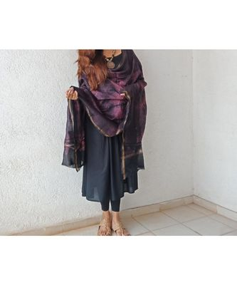 Black pink leaf chanderi silk shibori work dupatta