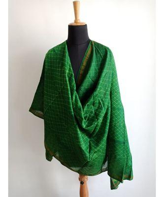 Green geometric chanderi silk shibori work dupatta