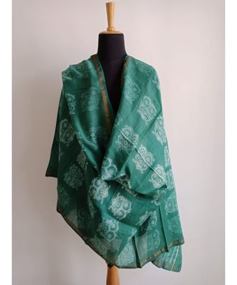 Teal geometric chanderi silk shibori work dupatta