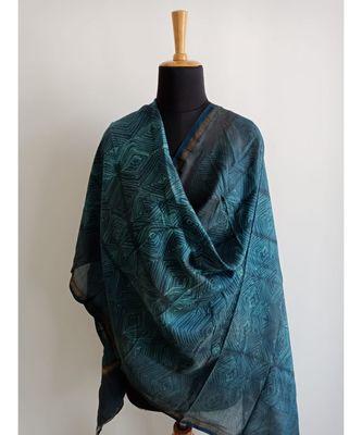 Light blue square print chanderi silk shibori work dupatta