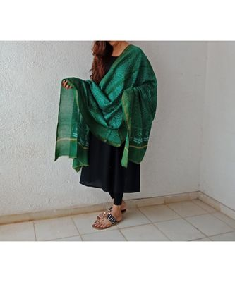 Dark green geometric chanderi silk shibori work dupatta