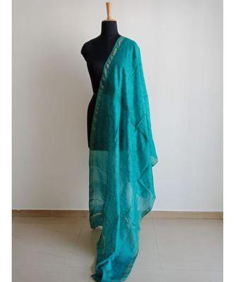 Turquoise mulberry silk dupatta