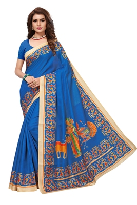 sky blue printed art silk saree with blouse