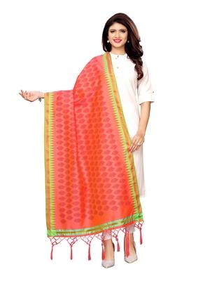 Pink Poly Silk Printed Womens Dupatta