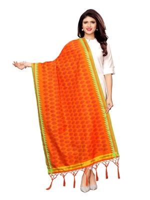 Orange Poly Silk Printed Womens Dupatta