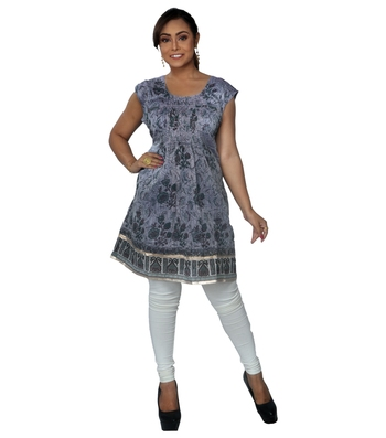 Purple woven chanderi ethnic-kurtis