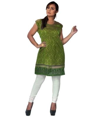 Green woven chanderi ethnic-kurtis