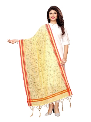 Beige Cotton Silk Printed Womens Dupatta