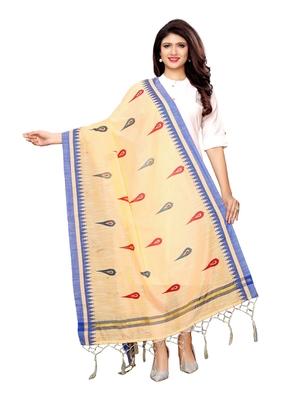 Beige Cotton Silk Printed Womens Dupatta