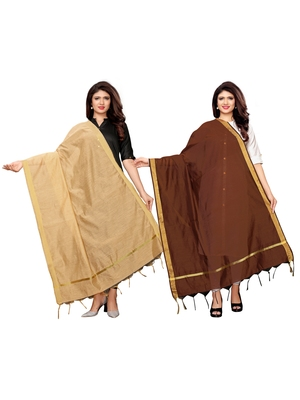 Beige and Brown Cotton Silk plain Womens Dupatta