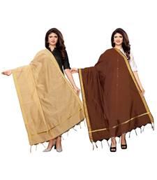 Beige and Brown Cotton Silk plain Womens Dupatta