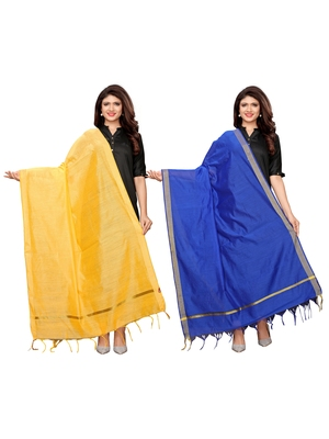 Yellow And Blue Cotton Silk Plain Womens Dupatta