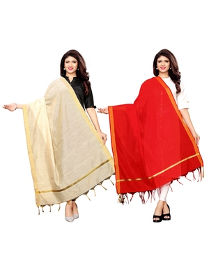 Beige And Red Cotton Silk Plain Womens Dupatta