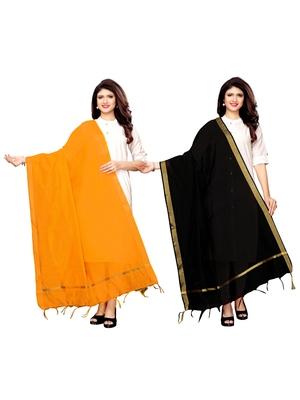 Yellow And Black Cotton Silk Plain Womens Dupatta