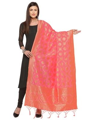 Pink Poly Silk Woven Womens Dupatta