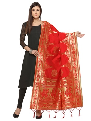 Red Poly Silk Woven Womens Dupatta