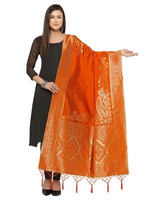 Orange Poly Silk Woven Womens Dupatta