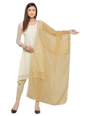 Beige Cotton embroidered Womens Dupatta