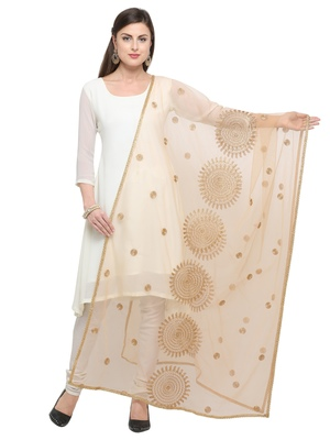 Beige Net embroidered Womens Dupatta