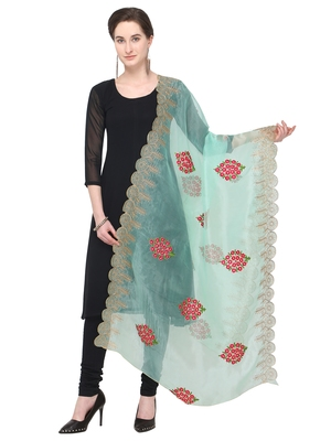 Turquoise Organza Embroidered Womens Dupatta