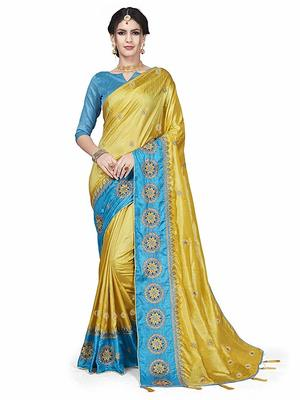 yellow Embroidery silk saree with blouse