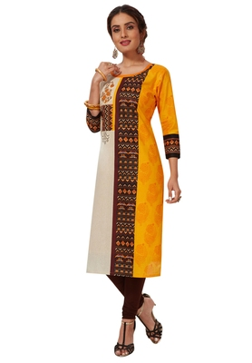 Women's Dark Yellow & beige Cotton Printed Straight Fit Readymade Kurti