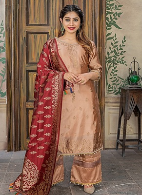 Peach embroidered banarasi salwar