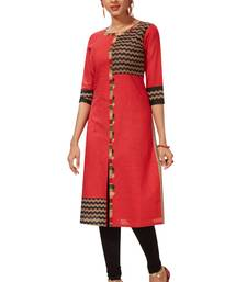 Women's Red & Black Cotton Printed Straight Fit Readymade Kurti