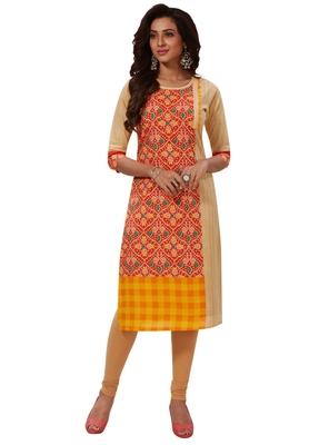 Women's Beige & Orange Cotton Printed Straight Fit Readymade Kurti
