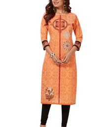 Women's Orange & Red Cotton Printed Straight Fit Readymade Kurti