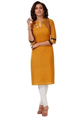 Women's Gold & Black Cotton Printed Straight Fit Readymade Kurti