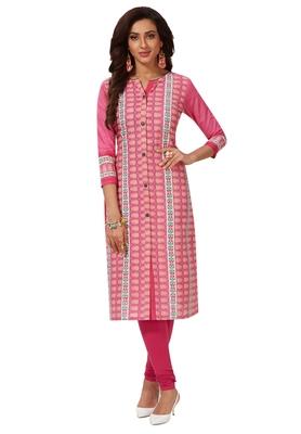 Women's Pink Cotton Printed Straight Fit Readymade Kurti