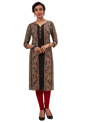 Women's Black & Bronze Cotton Printed Straight Fit Readymade Kurti