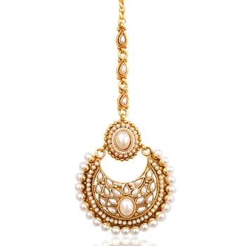 Beautiful kundan pearl polki mang tikka Indian ethnic copper hair jewelry AB46