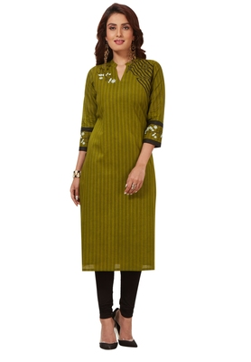 Women's Mehendi Green & Black Cotton Printed Straight Fit Readymade Kurti